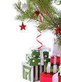 Gift boxes under Christmas tree Stock Images