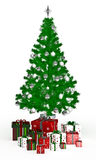 Gift  boxes under Christmas tree on white Royalty Free Stock Photo