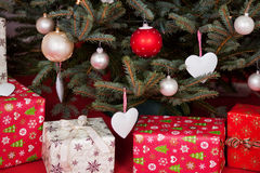 Gift boxes under the Christmas tree Royalty Free Stock Image