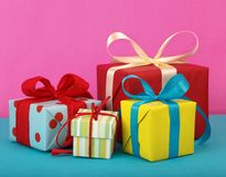 Gift boxes. Variety of bright gift boxes Royalty Free Stock Images