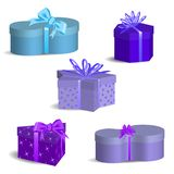 Gift boxes of various shapes with ribbons and bows. Set of holiday gifts royalty free illustration