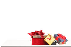 Gift boxes of various sizes and colors on a table Stock Image