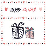 Gift boxes Vector banner. Simple freehand drawing Stock Images