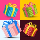 Gift Boxes Vector Design. Paper Colorful Gift Boxes Vector Design royalty free illustration