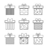 Gift boxes vector icons set in black and white Stock Photos