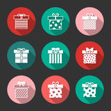 Gift boxes vector icons set over black Royalty Free Stock Photography