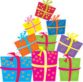 Gift boxes. A vector illustration of several bright colored gift boxes wrapped with ribbons Royalty Free Stock Photo