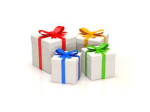 Gift Boxes on white background. 3d Image Stock Photography