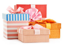 Gift boxes on white background Stock Images