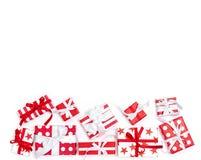 Gift boxes white background Holidays decoration. Gift boxes on white background. Holidays decoration white red stock photos
