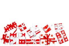 Gift boxes white background Holidays decoration red white. Gift boxes on white background. Holidays decoration red white stock photography