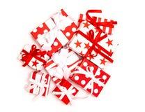 Gift boxes white background Holidays decoration. Gift boxes on white background. Holidays decoration white red royalty free stock photos