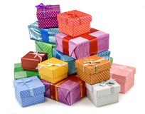 Gift boxes on white background Stock Image