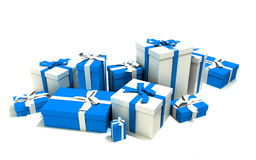 Gift boxes in white and  blue. 3D rendering of a big group of blue and white gift boxes with ribbons in different sizes Stock Images