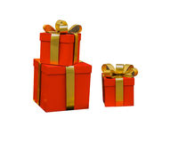 Gift boxes on white isolated background with clipping path. Stock Images