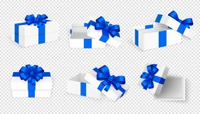 Free Gift Boxes. White Open Present Empty Box With Blue Bow And Ribbons. Christmas Birthday Valentine Day Vector Template Stock Photography - 158633772