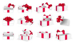 Free Gift Boxes. White Open Present Empty Box With Red Bow And Ribbons. Christmas And Valentine Day Vector Template Stock Image - 128230091