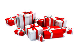 Gift boxes in white and red Royalty Free Stock Photo