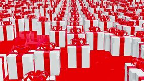 Gift boxes in white on red stock video