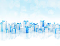 Gift boxes on white reflective floor Stock Image