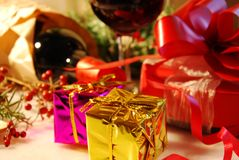 Gift boxes with wine Stock Photography