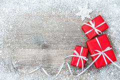 Gift boxes on wooden background Stock Photo