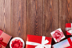 Gift boxes on wooden table royalty free stock image