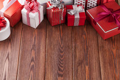 Gift boxes on wooden table Stock Photo
