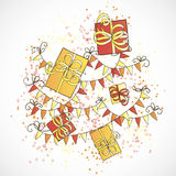 Gift Boxes and Holiday Pennants Royalty Free Stock Images