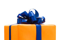 Gift boxes wrapped in Orange paper Stock Photo