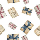 Gift boxes wrapped in red, brown and blue ribbons on the white background. Seamless pattern. Christmas mood. Hand drawn water color illustration. Gift boxes vector illustration