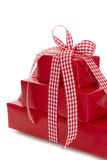Gift boxes wrapped in red paper Stock Photos