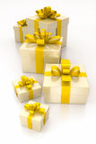 Gift boxes yellow Stock Image