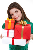 Gift boxes. Young girl holding a gift Stock Photography