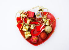 Gift boxs and christmas bells Royalty Free Stock Images