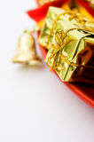 Gift boxs and christmas bells Stock Photo