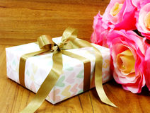 Gift boxs pressent with ribbon decorations Stock Photos