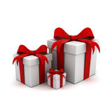 Gift boxs with red ribbon bows Stock Images