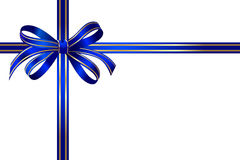 Gift Bright blue-gold bow Royalty Free Stock Photos