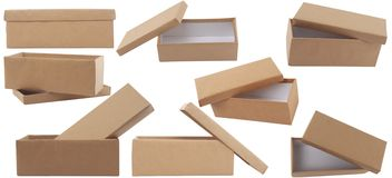 Gift brown box with lid Royalty Free Stock Image