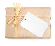 Gift in Brown Natural Wrapping Royalty Free Stock Images