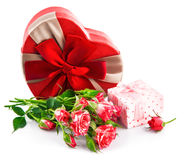 Gift with bunch roses on valentines day Stock Photos