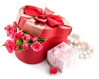 Gift with bunch roses on valentines day Stock Image