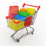 Gift buying. Shopping cart full of boxes Royalty Free Stock Images