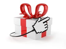Gift with cable. Isolated on white background Royalty Free Stock Images