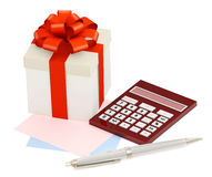 Gift and calculator Royalty Free Stock Photography