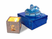 Gift with candle Stock Photography