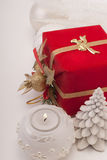 Gift, candle, new year balls Stock Photography