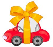 Gift car. Illustration of a red car, wrapped a yellow ribbon. Isolated on white Stock Photo