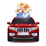 Gift on car. Blue gift with gold bow on red car on white background. Front view. EPS10 stock illustration